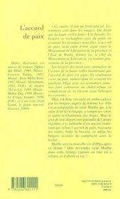 L'accord de paix - 4ème de couverture - Format classique