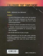 L'allemand tout simplement lecons thematiques chapitres de revision 2 mini-lexiques exercices & jeux - 4ème de couverture - Format classique