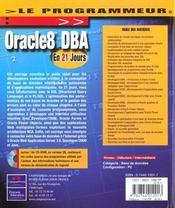 Oracle 8 Dba En 21 Jours - 4ème de couverture - Format classique