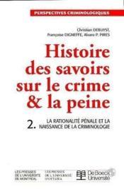 Histoire des savoirs sur le crime et la peine vol 2 - Couverture - Format classique