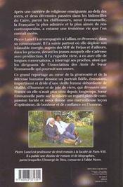 Soeur Emmanuelle ; secrets de vie - 4ème de couverture - Format classique