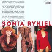 Mode selon sonia rykiel - 4ème de couverture - Format classique