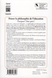 Penser la philosophie de l'éducation - 4ème de couverture - Format classique