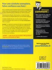 Code de la route pour les nuls (édition 2014) - 4ème de couverture - Format classique