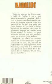Raboliot - 4ème de couverture - Format classique