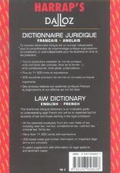 Dictionnaire juridique francais-anglais - 4ème de couverture - Format classique