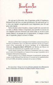 Richard Coeur de Lion et le Limousin - 4ème de couverture - Format classique
