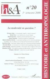 Revue Histoire Et Anthropologie N.20 ; La Modernite En Question - Couverture - Format classique