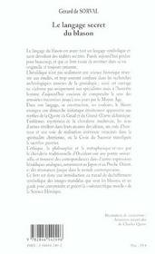 Le Langage Secret Du Blason - 4ème de couverture - Format classique