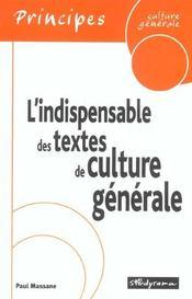 Indispensable Des Textes De Culture Generale (L') - Intérieur - Format classique