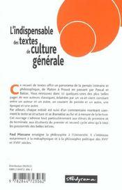 Indispensable Des Textes De Culture Generale (L') - 4ème de couverture - Format classique