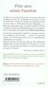 Prier avec sainte Faustine - 4ème de couverture - Format classique