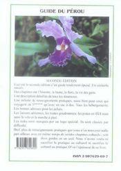 Guide du perou (2eme edition) - 4ème de couverture - Format classique