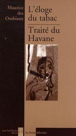L'éloge du tabac ; traité du havane - Intérieur - Format classique