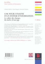 Uml Pour L'Analyse D'Un Système D'Information - 4ème de couverture - Format classique