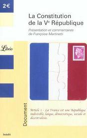 La constitution de la V République - Intérieur - Format classique