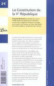 La constitution de la V République - 4ème de couverture - Format classique