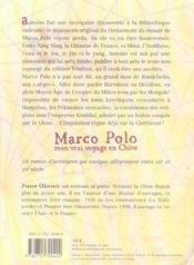Marco polo mon vrai voyage en chine - 4ème de couverture - Format classique
