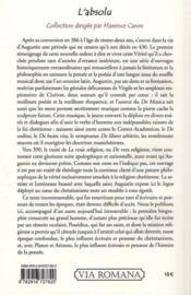 L'absolu t.1 ; saint Augustin ; la vraie religion ; la vie de saint Aguqtin par son disciple et ami Possidius - 4ème de couverture - Format classique