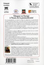 Éduquer en Europe à l'heure de la postmodernité - 4ème de couverture - Format classique