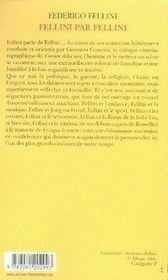 Fellini par fellini (édition 2007) - 4ème de couverture - Format classique