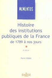 Histoire Des Institutions Publiques De La France, De 1789 À Nos Jours - Intérieur - Format classique