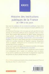 Histoire Des Institutions Publiques De La France, De 1789 À Nos Jours - 4ème de couverture - Format classique