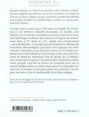 Initiation A L'Histoire De La Grece Antique - 4ème de couverture - Format classique