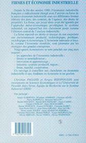 Firmes Et Economie Industrielle - 4ème de couverture - Format classique