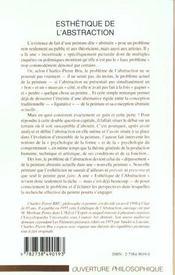 Esthetique De L'Abstraction ; Essai Sur Le Probleme Actuel De La Peinture - 4ème de couverture - Format classique