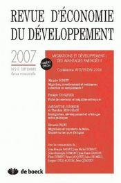 Revue D'Economie Du Developpement N.2/3 ; Economie Du Developpement N.07/2-3 - Intérieur - Format classique
