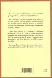 Rene guenon et le roi du monde - 4ème de couverture - Format classique