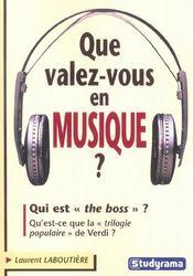 Que valez-vous en musique ? - Intérieur - Format classique