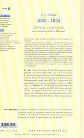 Integrale emile zola tome 1 les debuts ( 1858- 1865 ) - 4ème de couverture - Format classique