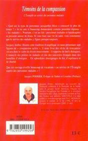 Temoins De La Compassion - L'Evangile Au Service Des Personnes Malades - 4ème de couverture - Format classique