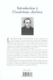 Introduction a l'esoterisme chretien - 4ème de couverture - Format classique