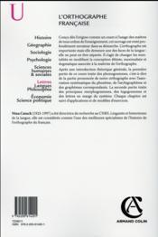 L'orthographe française - 4ème de couverture - Format classique