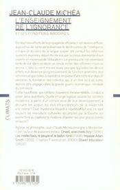 L'enseignement de l'ignorance et ses conditions modernes - 4ème de couverture - Format classique