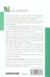 La laïcité (2e édition) - 4ème de couverture - Format classique