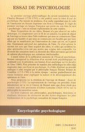 Essai de psychologie - 4ème de couverture - Format classique