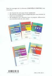 Controle Continu ; Physique-Chimie ; 1ère S - 4ème de couverture - Format classique