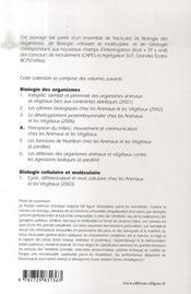 Biologie des organismes t.4 ; perception du milieu, mouvement et communication chez les animaux et les végétaux - 4ème de couverture - Format classique
