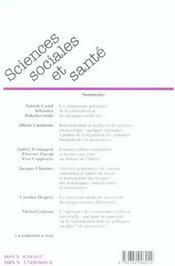 Revue Sciences Sociales Et Sante N.23 ; Rationalisation Des Pratiques Médicales - 4ème de couverture - Format classique
