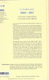 Intégrale Emile Zola t.2 ; le feuilletoniste (1866-1867) - 4ème de couverture - Format classique