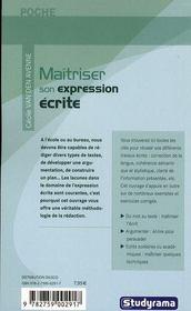 Maîtriser son expression écrite (2e édition) - 4ème de couverture - Format classique