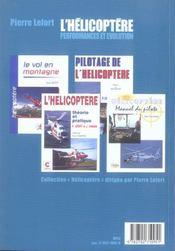 L'helicoptere, performances et evolution - 4ème de couverture - Format classique