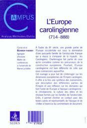 L'Europe Carolingienne 714-888 - 4ème de couverture - Format classique