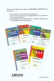 Controle Continu ; Mathématiques ; 1ère S - 4ème de couverture - Format classique