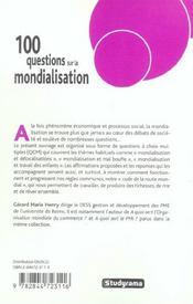 100 Questions Sur La Mondialisation - 4ème de couverture - Format classique