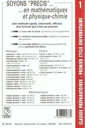 Precis t.1 ; mecanique mpsi pcsi - 4ème de couverture - Format classique